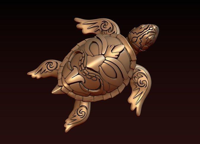 turtle with tiki mask ornament 3d model obj mtl fbx stl blend stp 1