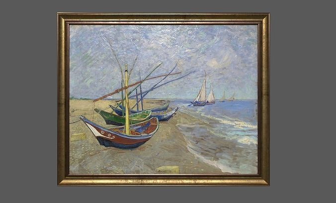 bronze frame with stretcher and van gogh oil painting 3d model obj mtl 3ds fbx c4d ma mb 1