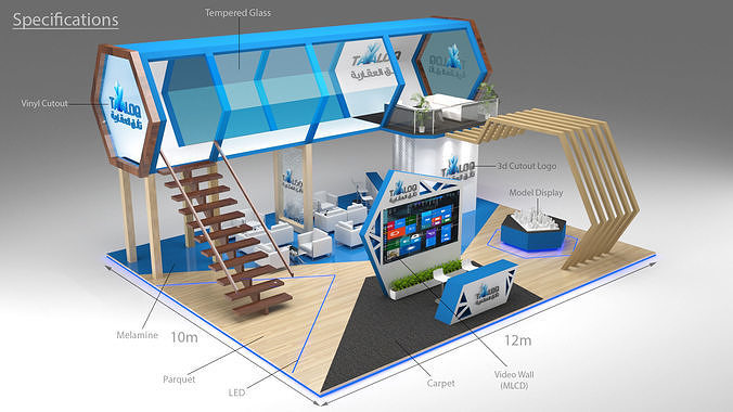 3d exhibition stand booth double deck 12x10 3d model max 1