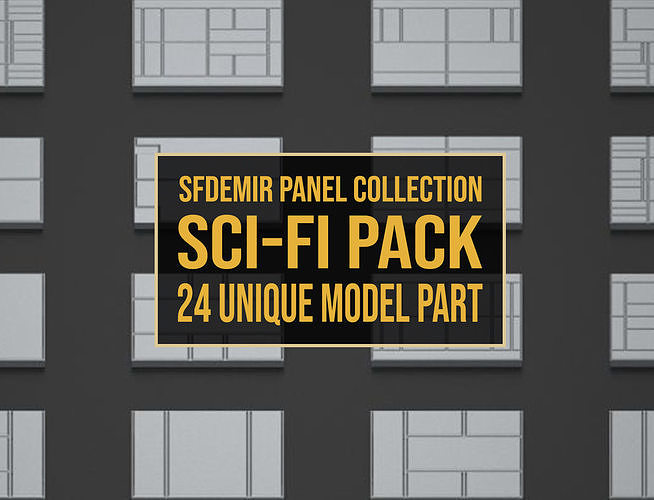 sfdemir panel collection sci-fi pack 02 - 24 unique part 3d model max obj mtl 3ds fbx 1