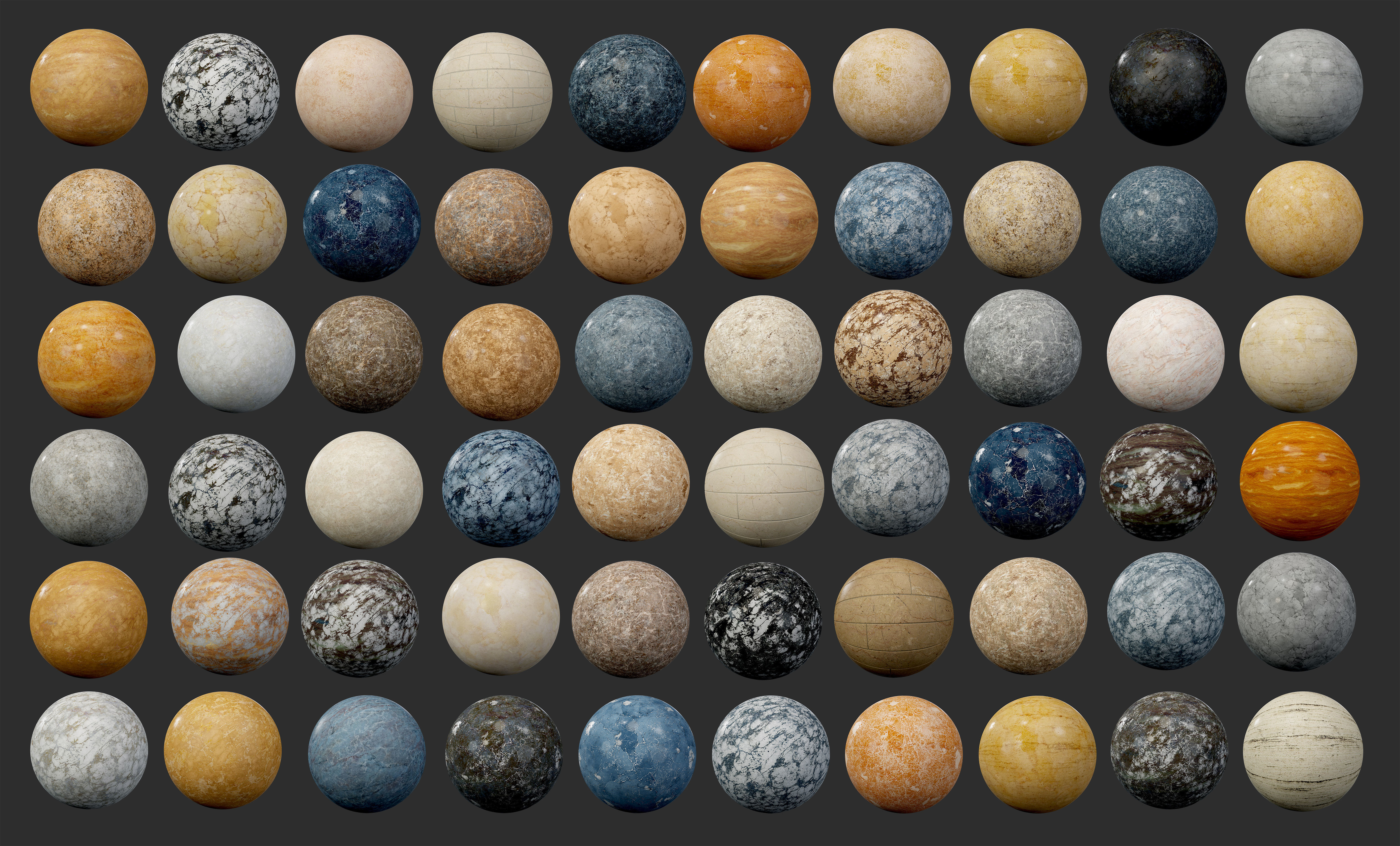 60 Marble and Granite Seamless PBR Textures