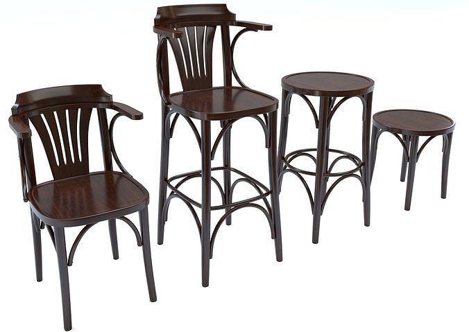 bar chair set 1 3d model max obj mtl 3ds fbx 1