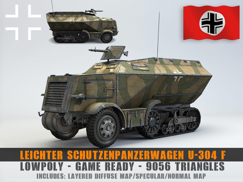 Low Poly U 304 F Leichter SchutzenPanzerWagen