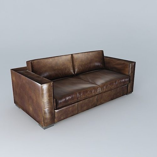 Berlin Aged Brown Leather Sofa 3d Model Max Obj 3ds Fbx Stl Dae