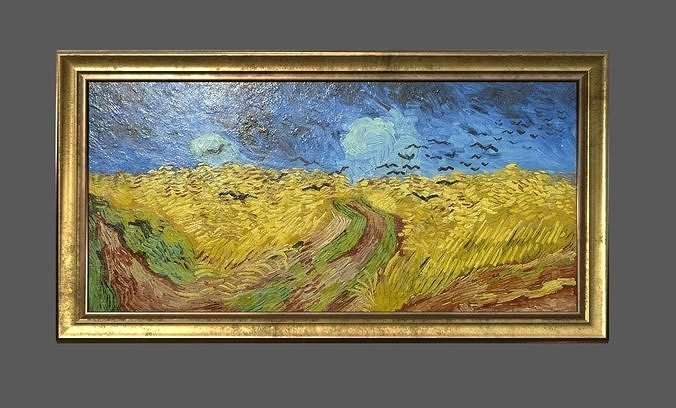 bronze frame with stretcher and van gogh oil painting 3d model obj mtl 3ds fbx c4d ma mb dae 1