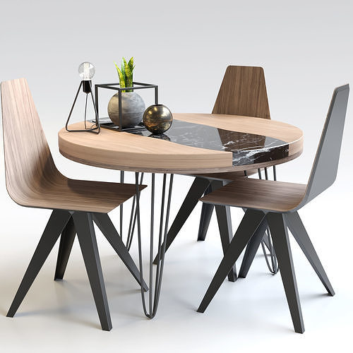 table and chairs  3d model max obj mtl fbx 1