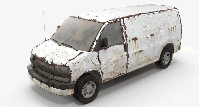 rusty van 3d model max obj mtl fbx 1