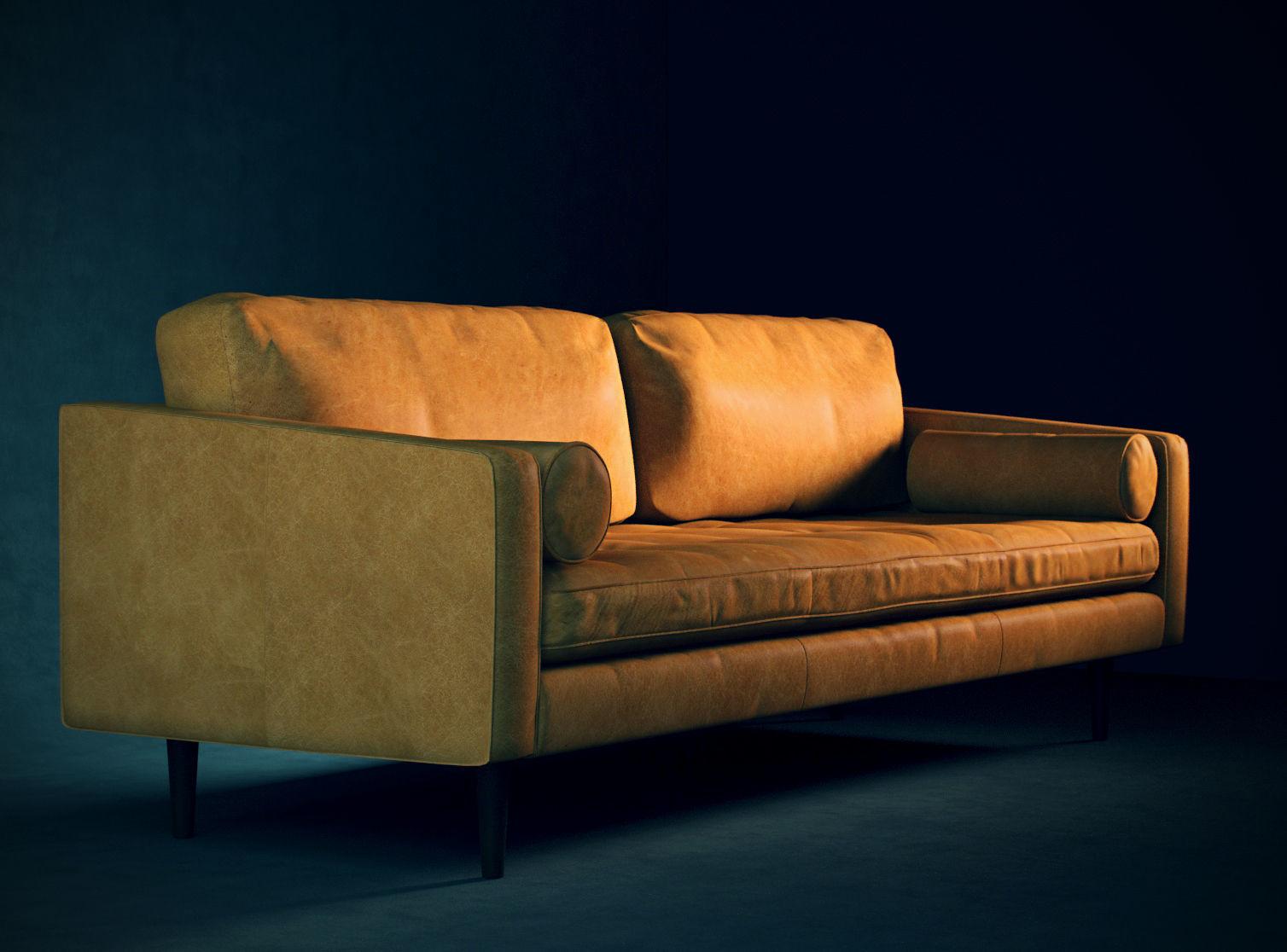Leather Mid-Century Modern Sofa | 3D model