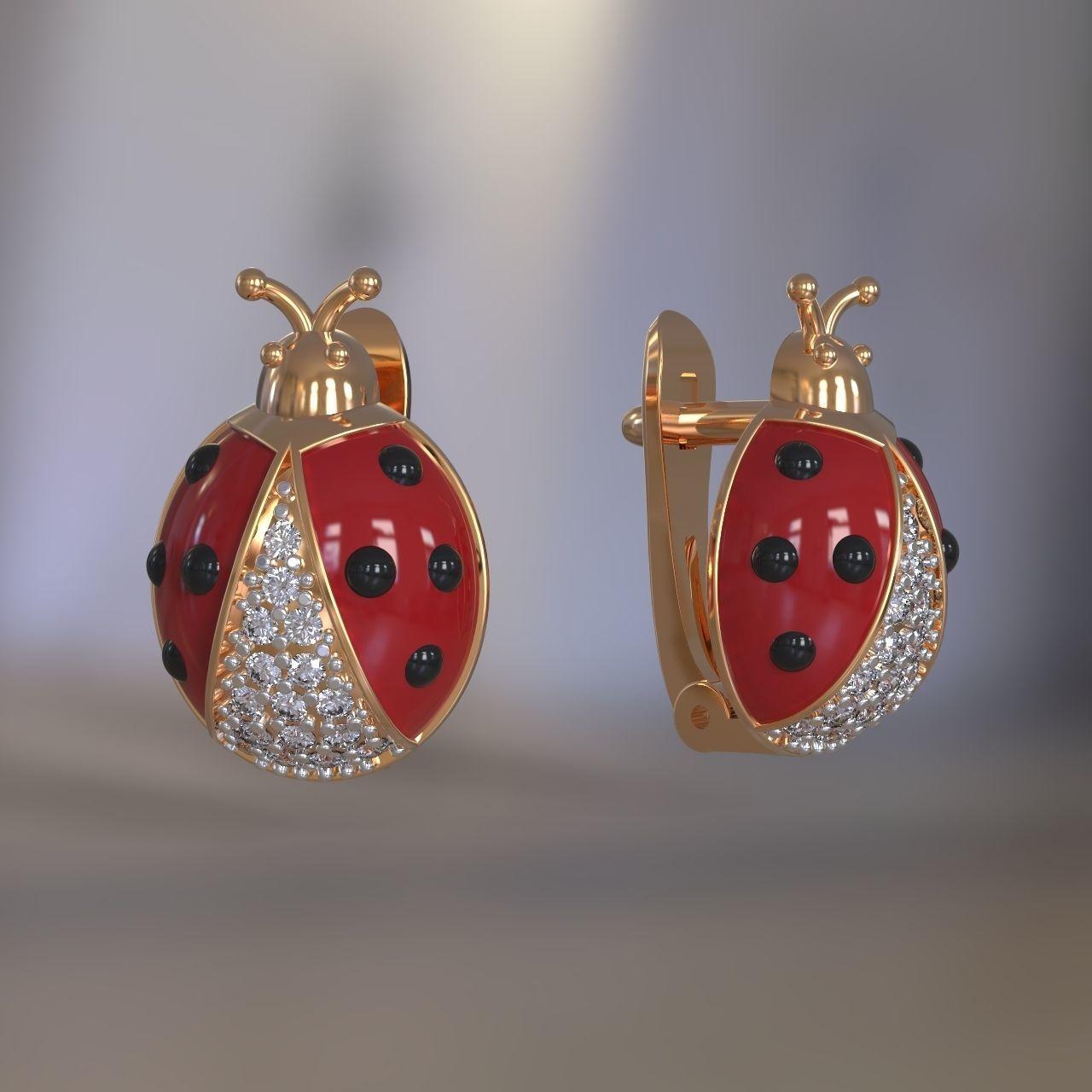 Ladybug earrings for girls with enamel