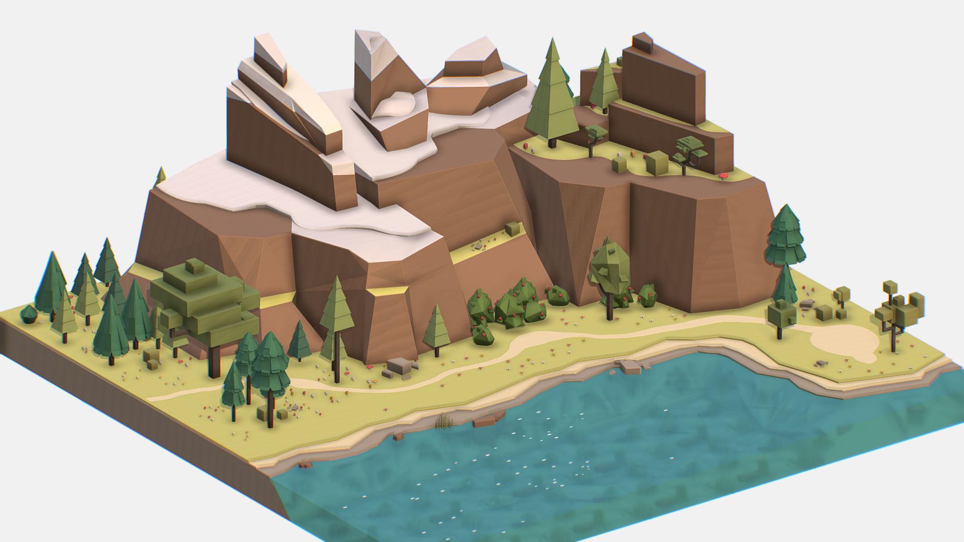 Isometric style lake summer mountain landscape