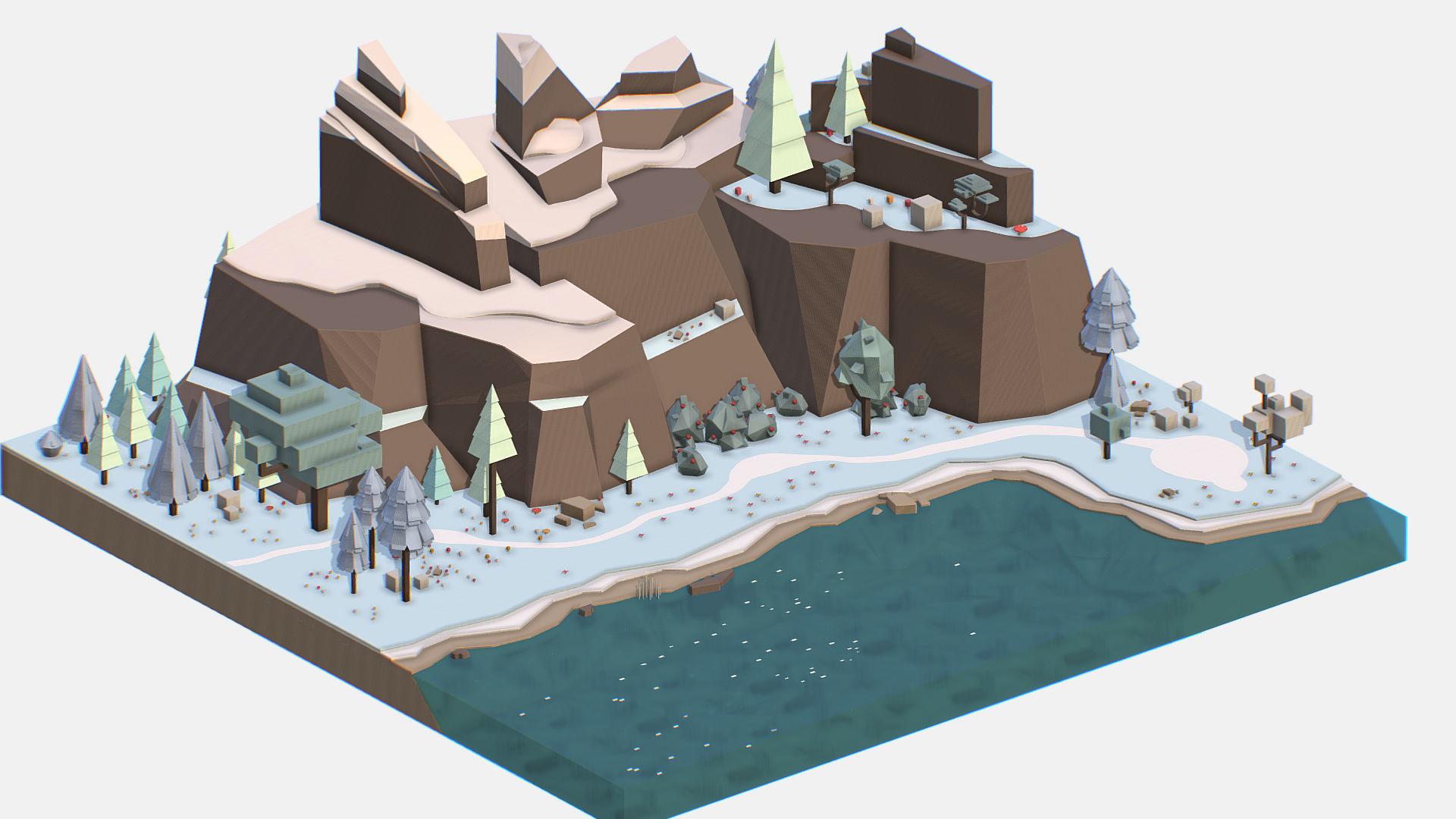 Isometric style lake winter mountain landscape | 3D model