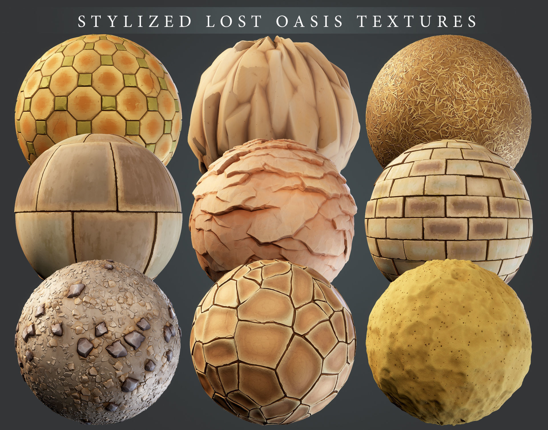 Stylized Lost Oasis PBR material pack