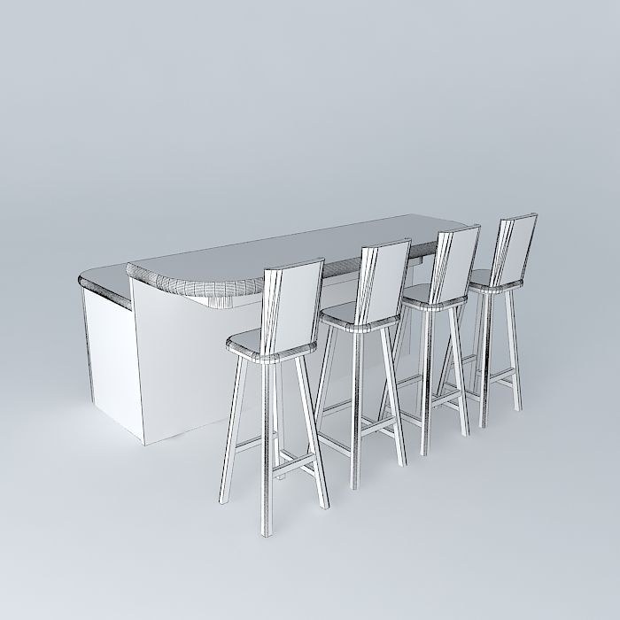 Free Standing Breakfast Bar 3D model CGTrader