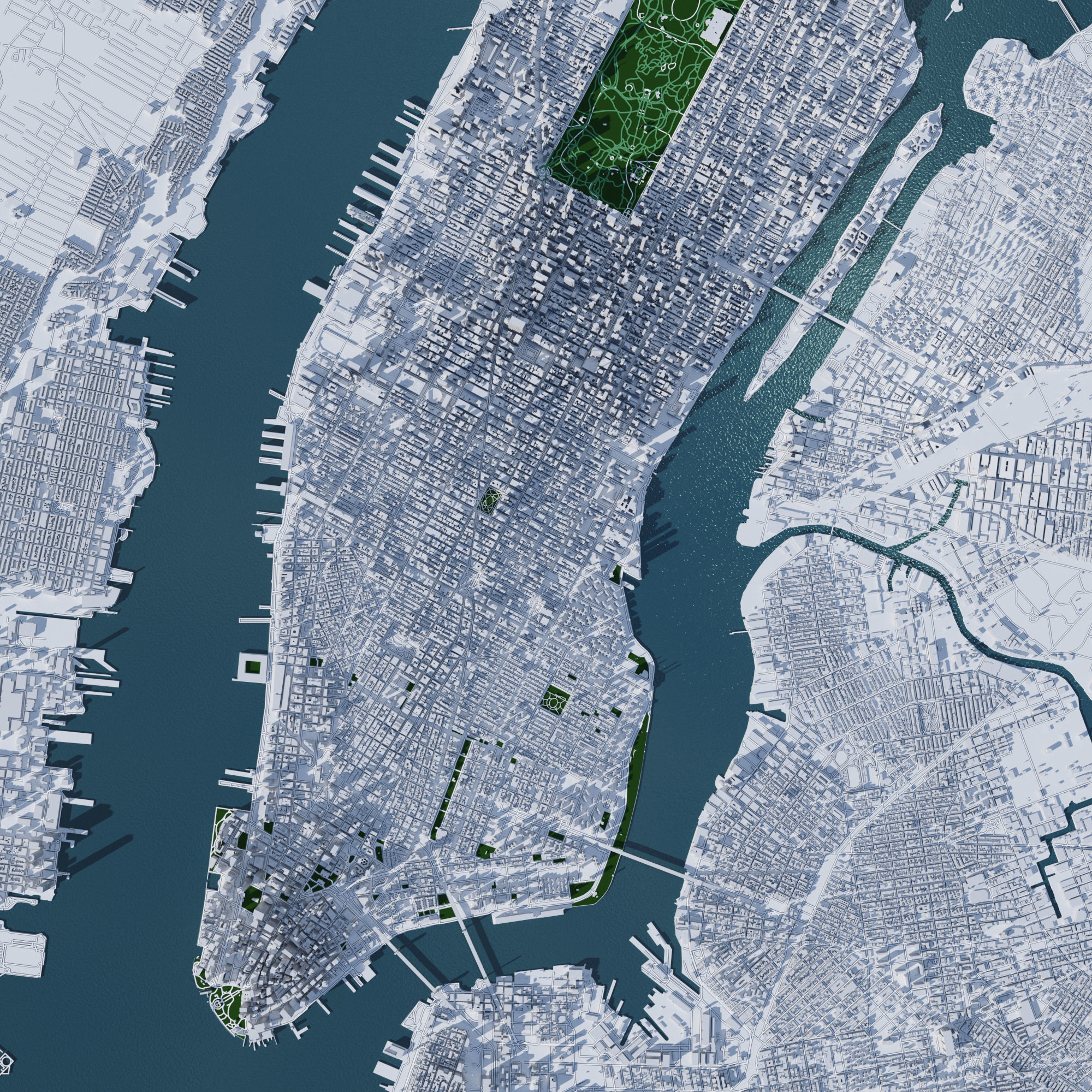 Map Of New York 3d.New York City Manhattan With Terrain 3d Model