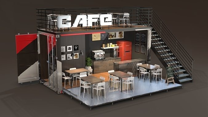 shipping container cafe 3d model max obj mtl 3ds fbx blend dae 1