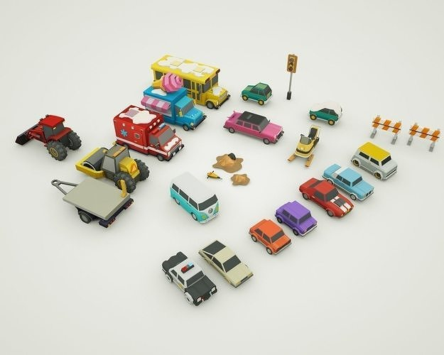 simple poly  cars lowpoly low-poly 3d model snowed winter 3d model max obj mtl 3ds fbx c4d ma mb 1