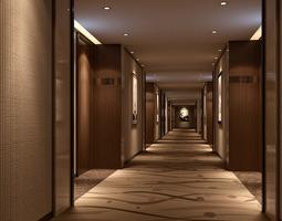 3d model spacious hotel hall