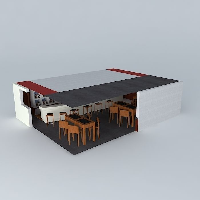 Wine bar free 3d model max obj 3ds fbx stl dae for Food bar 3d model