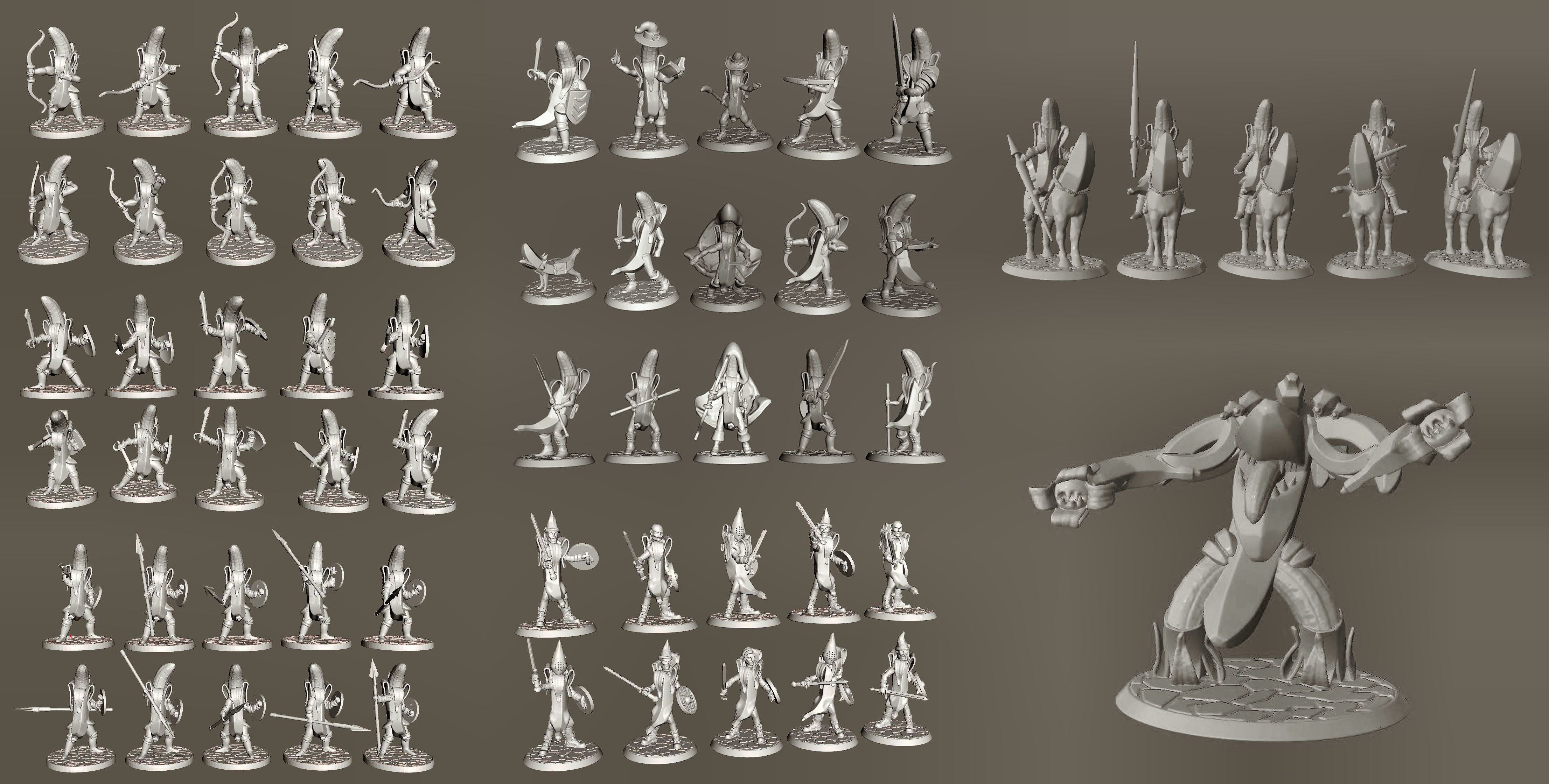 28mm Banana Knight Army - 61 Unique Miniatures for Wargames
