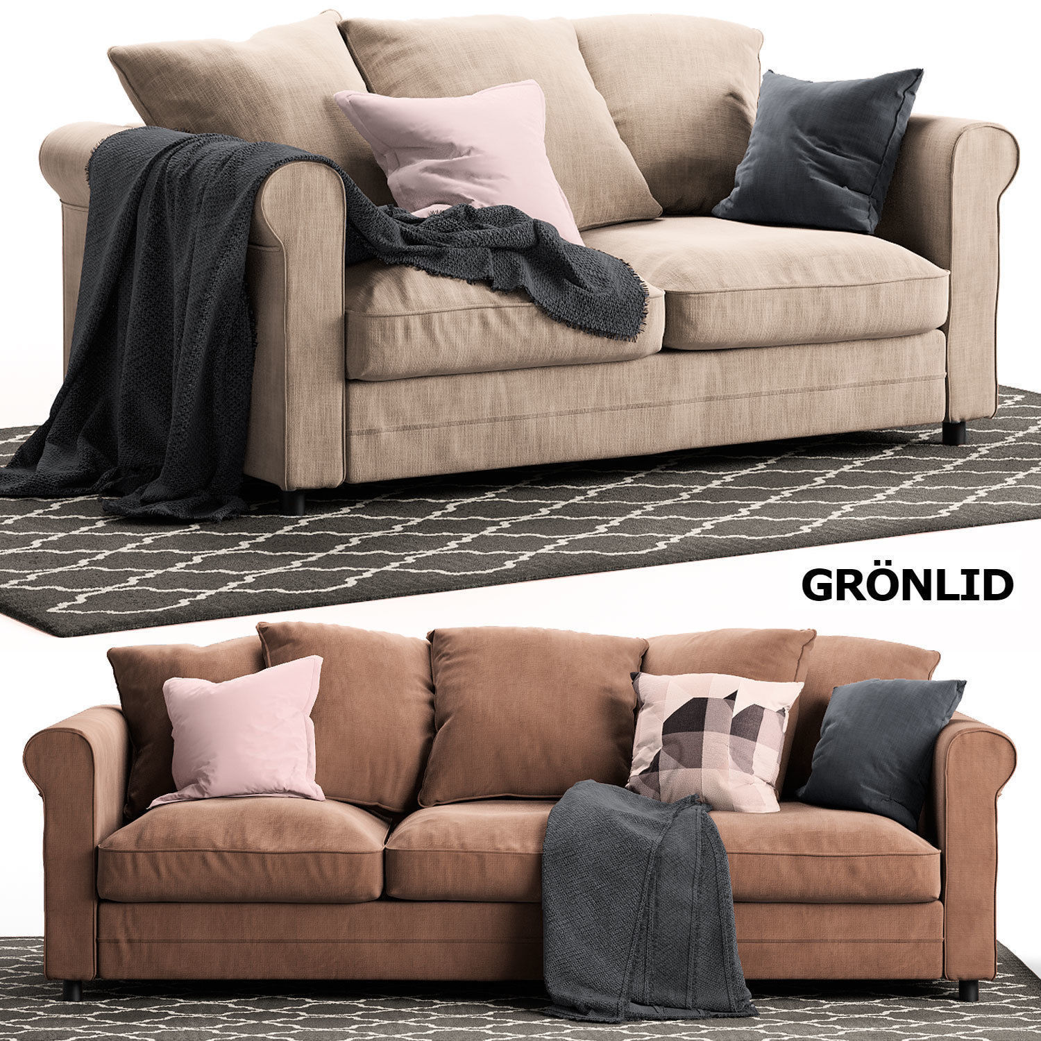 Incredible 2 Sofas Gronlid Ikea 3D Model Caraccident5 Cool Chair Designs And Ideas Caraccident5Info