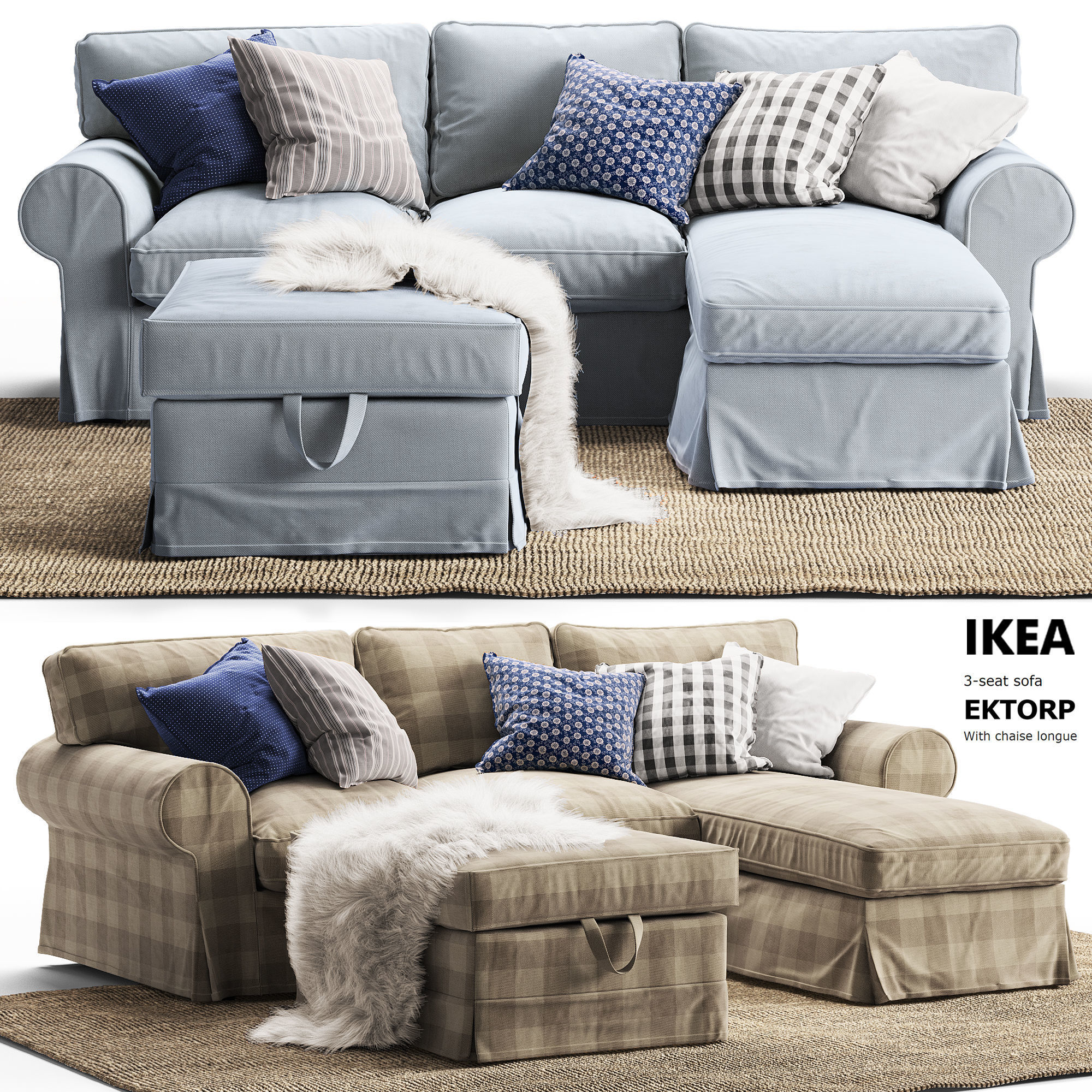 3d 3 Seat Sofa Ektorp With Chaise Longue Ikea Seating
