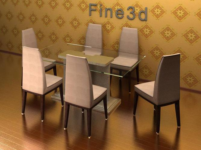 Table dining table collection 3d cgtrader for Dining room table 3ds max