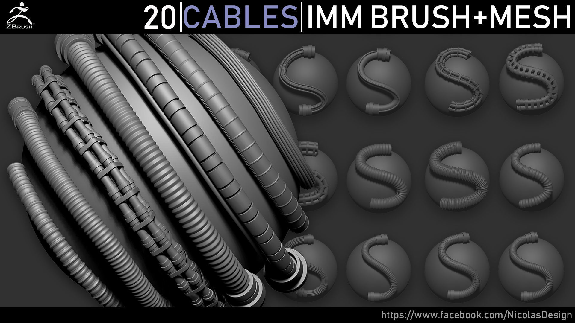 Zbrush - Cables IMM Brush and Meshes | 3D model