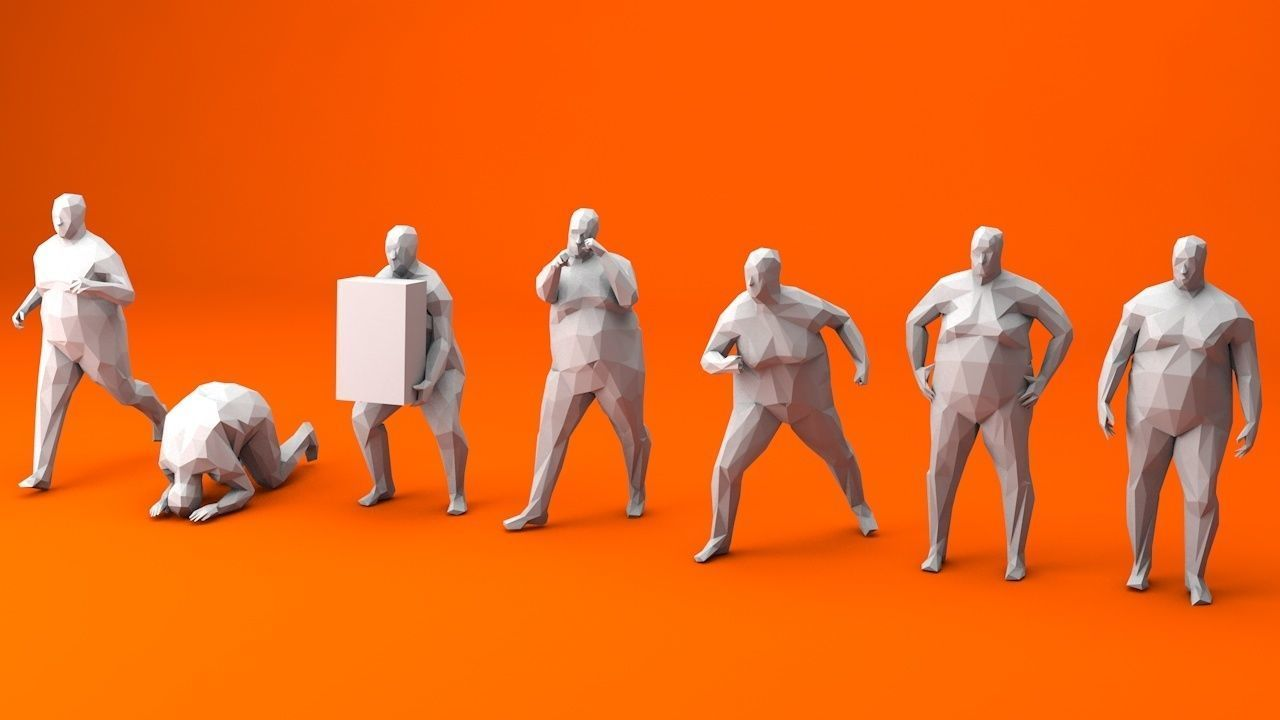 7 Fat Lowpoly People