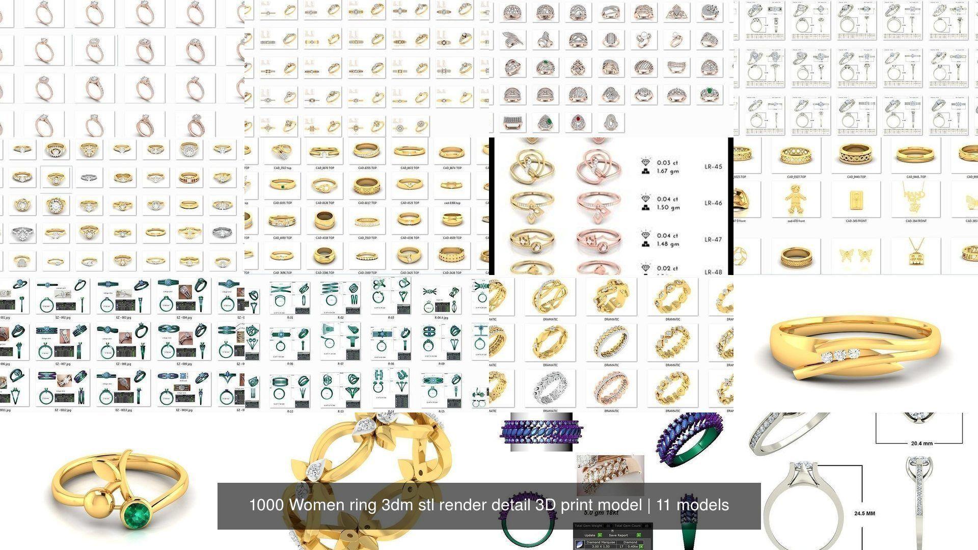 1000 Women ring 3dm stl render detail 3D print model