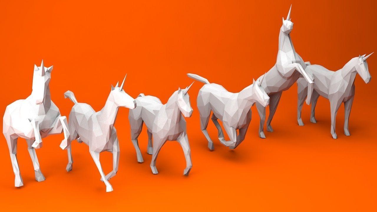 6 Lowpoly Unicorns