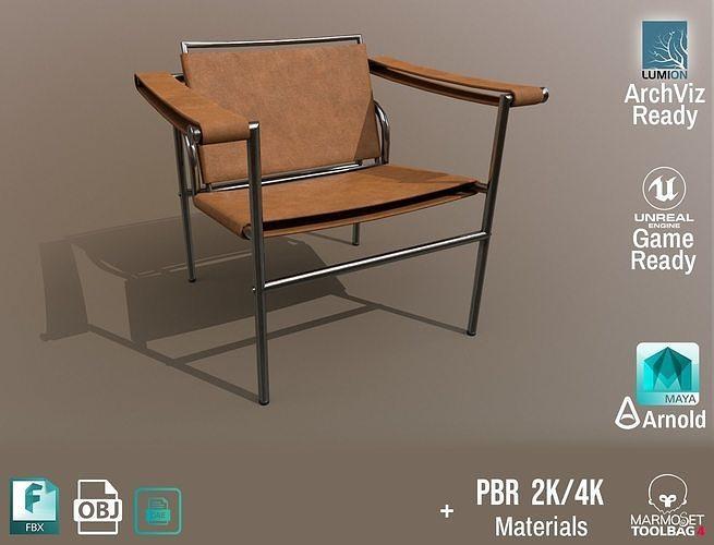Chair Thonet Le Corbusier PBR - Light Leather -  ArchViz Game