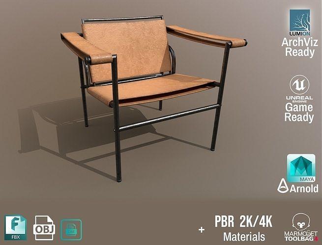 Chair Thonet Le Corbusier PBR - Old Leather -  ArchViz Game