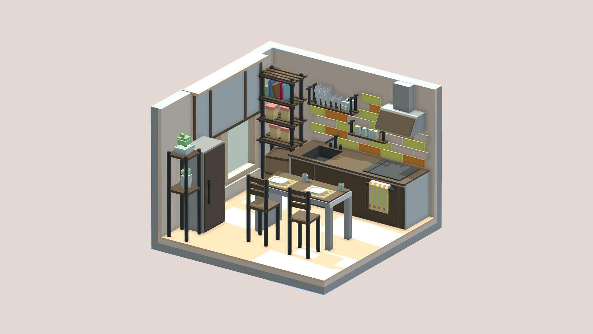 Isometric cartoon kitchen room | 3D model