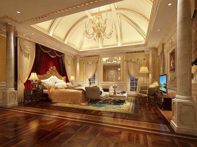 Luxurious bedroom interior collection 3d cgtrader for Beautiful luxurious bedroom designs