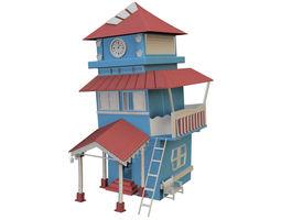 3D model cartoon house blue