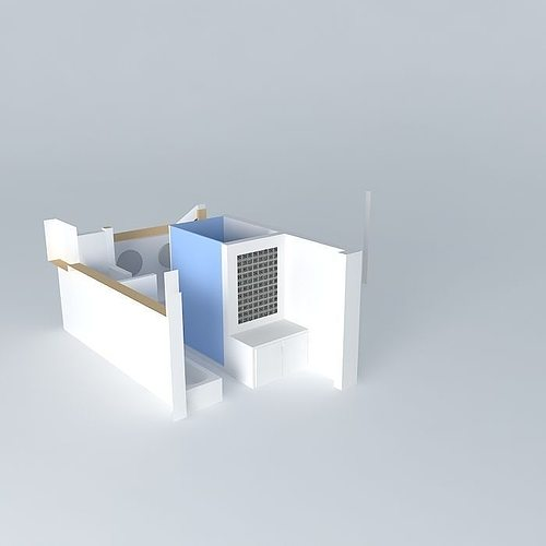 Overhead view bathroom design 3d model cgtrader for Bathroom design 3d model