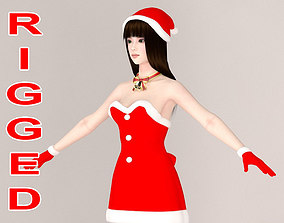 T pose rigged model of Akari in Christmas rigged