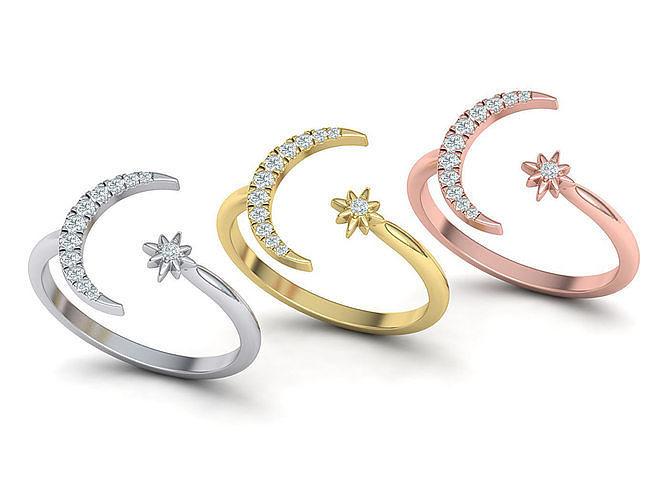 Crystal Moon ring Diamond Star Ring 3dmodel
