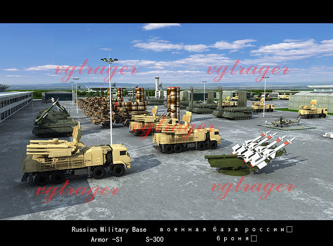 russian military base  3d model low-poly animated max tga 1