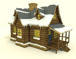 3d asset low poly winter house realtime