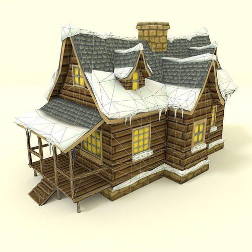 Low Poly Winter House 3d Model Obj 3ds Fbx Blend Dae 3