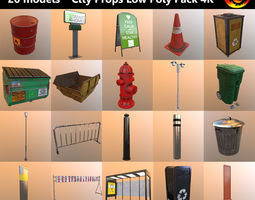 city props low poly pack 4k  3d model VR / AR ready