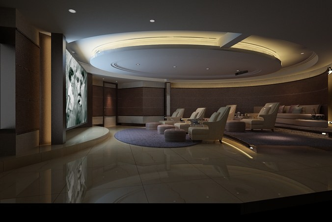 3d Home Theatre Lounge Space Collection Cgtrader