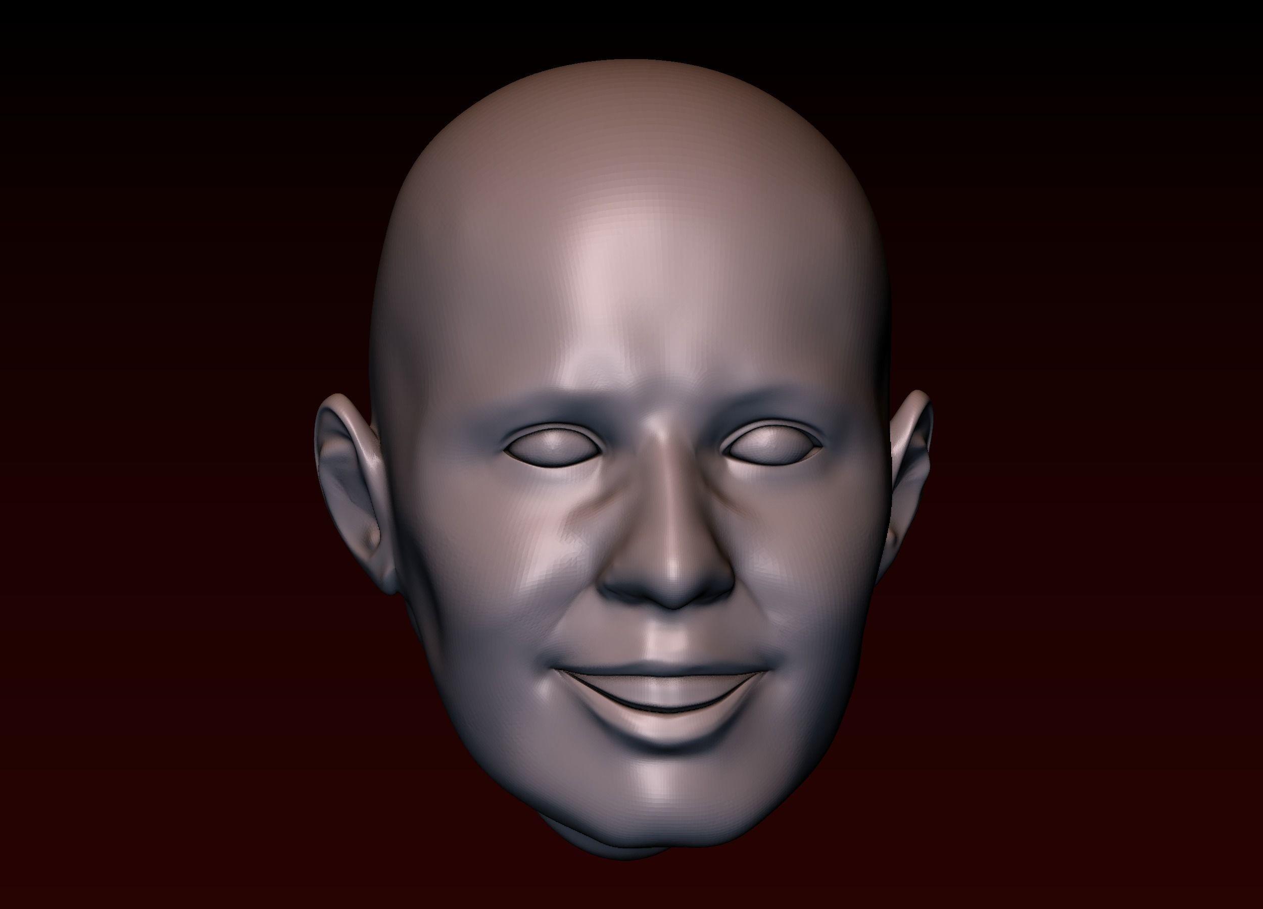 Male head 23 Man head - smiling face