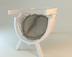 round chair with cushion  3d model
