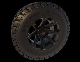 Off Road Truck Tire and Wheel 3D Model