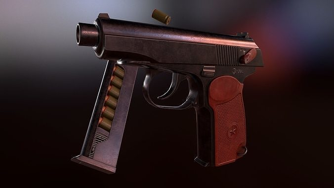 pbr makarov pistol 3d model low-poly obj mtl 3ds fbx stl blend tga 1