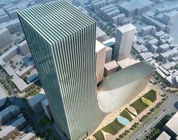 3d city hotel office building modern design 27