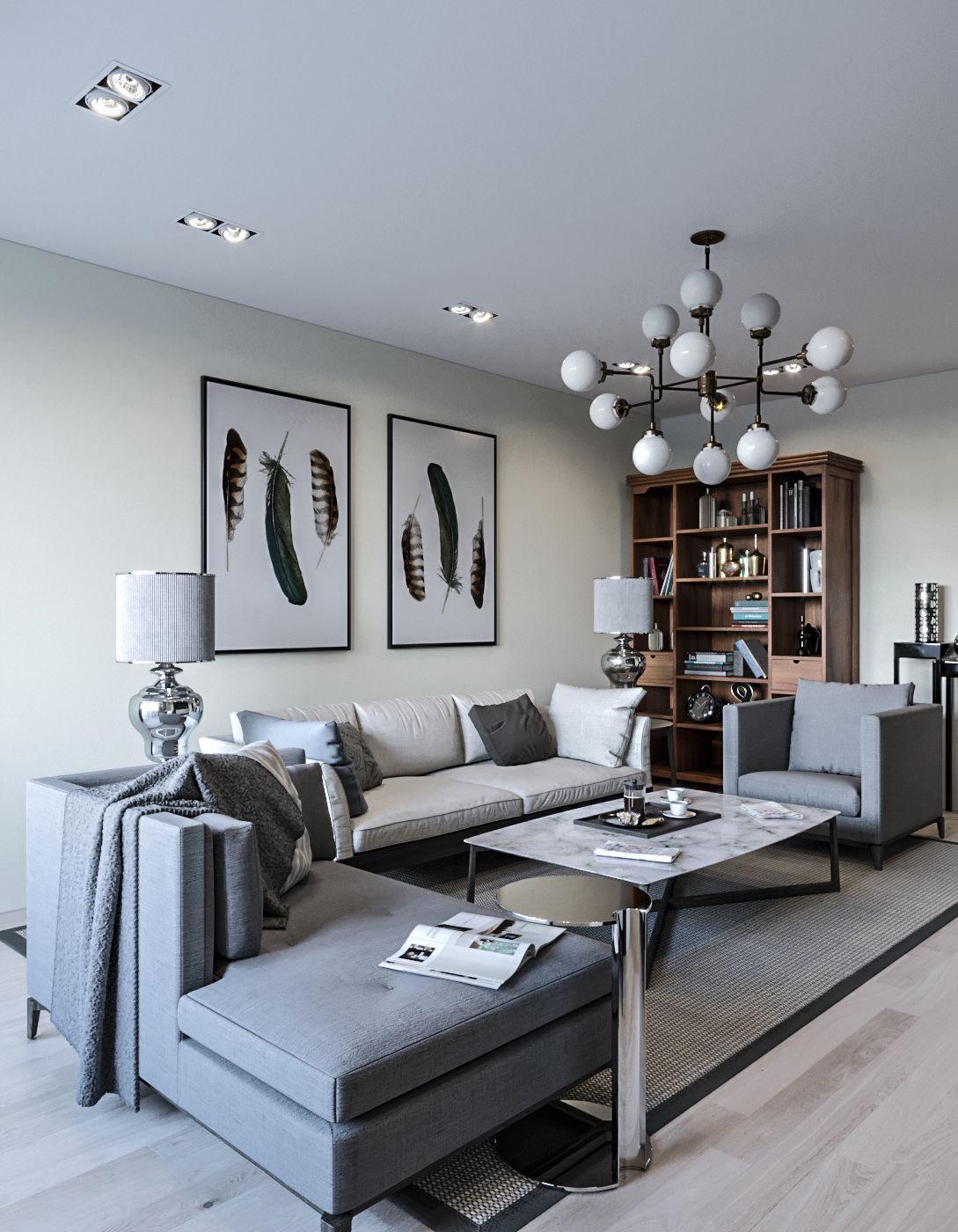 3d Room Interior Design: Interior Neoclassic Living Room 05 3D