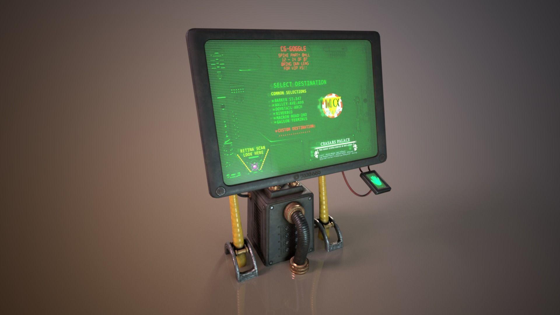 Sci-fi  Cyberpunk Taxi order point terminal